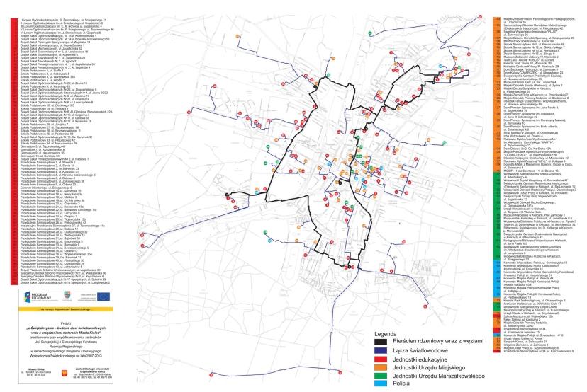 Mapa lokalizacji węzłów kieleckiej sieci MAN