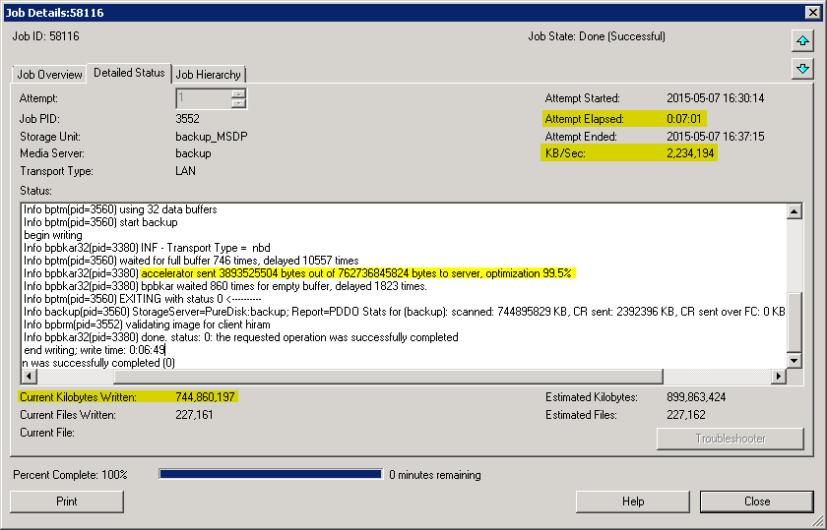 NetBackup Accelarator w akcji